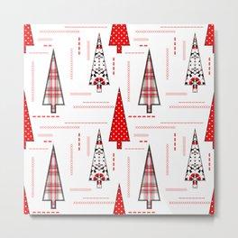 Seamless christmas applique patchwork pattern Metal Print