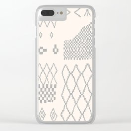 Moroccan Patchwork in Cream and Grey Clear iPhone Case