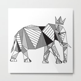 Geometric Elephant Metal Print