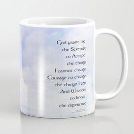 Serenity Prayer Blue Sky Gentle Clouds Coffee Mug