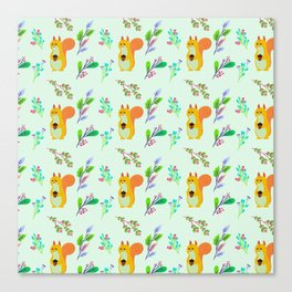 Cute hand painted yellow orange squirrel teal coral floral pattern Canvas Print