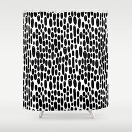 Black and White Creepy Cute Ghosts Pattern Shower Curtain