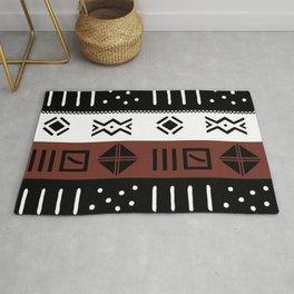 Black White Brown African Kente Pattern Rug