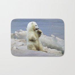 Cute Polar Bear Cub & Arctic Ice Bath Mat