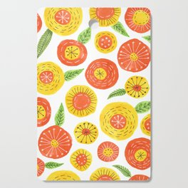 orange and yellow simple floral pattern Cutting Board