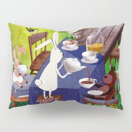 Bunny Tea Party in forest Pillow Sham