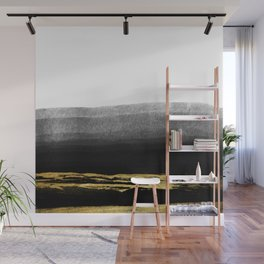 Black & Gold Stripes on White - Mix & Match with Simplicty of life Wall Mural