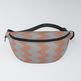 Cavern Clay SW 7701 and Slate Violet Gray SW9155 Wavy Vertical Rippled Stripes Fanny Pack