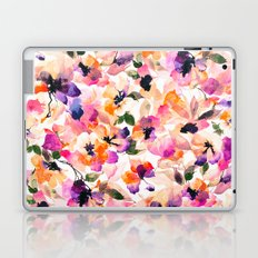 Chic Floral Pattern Pink Orange Pastel Watercolor Laptop & iPad Skin