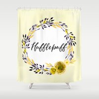 hufflepuff Shower Curtains featuring HP Hufflepuff in Watercolor by Snazzy Sisters