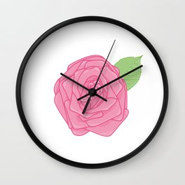 Pink Rose with Leaf Illustration Wall Clock