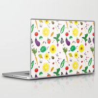 vegetables Laptop & iPad Skins featuring Delicious Vegetables by Viola Brun Designs
