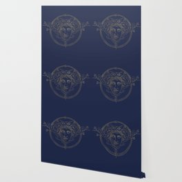 medusa / gold minimal line logo on navy background Wallpaper