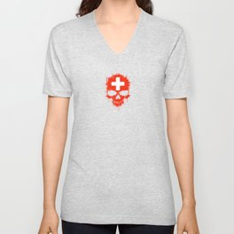Flag of Switzerland on a Chaotic Splatter Skull Unisex V-Neck