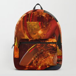 The awesome fire girl , fire on the background Backpack