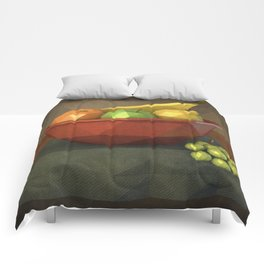 Low-polygon style still life painting Comforters