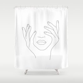 Minimal Line Art Woman With Hands On Face Shower Curtain