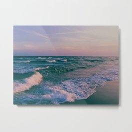 Sunset Crashing Waves Metal Print