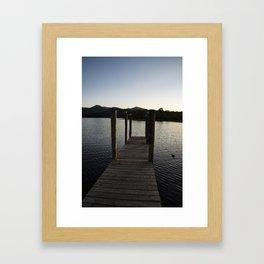 derwentwater jetty sunset Framed Art Print