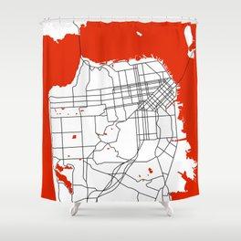 District San Francisco Map Shower Curtain