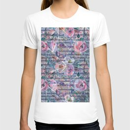 Abstract hand painted geometrical watercolor floral T-shirt