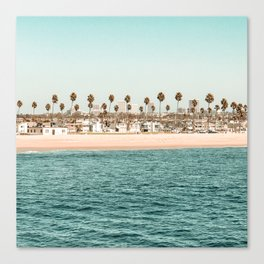 Vintage Newport Beach Print {1 of 4} | Photography Ocean Palm Trees Teal Tropical Summer Sky Canvas Print