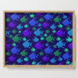 Cartoon Fish In Blues And Greens. Serving Tray