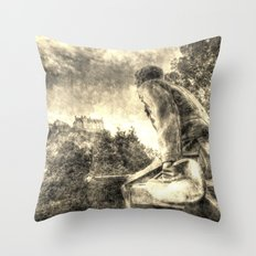 Scots American Memorial And Edinburgh Castle Vintage Throw Pillow