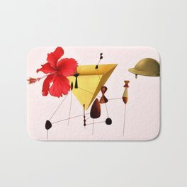 Golden Abstract Collage Bath Mat