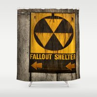 fallout Shower Curtains featuring Fallout Shelter by Julie Maxwell