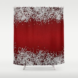 Shiny Red Texture With Silver Sparkles Shower Curtain