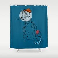sailor Shower Curtains featuring Sailor by Hazel Bellhop