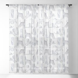 Afghan Hounds Pattern Sheer Curtain