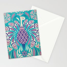 Kitschy Peacock Pattern in Mid Century Cheeky Style Stationery Cards