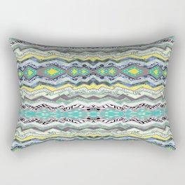 Teal Yellow White Midnight Aztec Rectangular Pillow