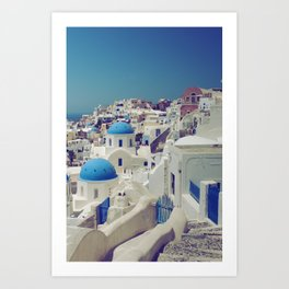 Blue Domes, Oia, Santorini, Greece Art Print