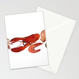 seafood shell scallop lobster shrimps white Stationery Cards