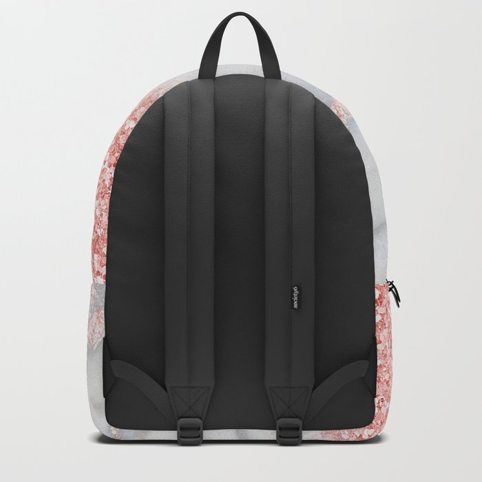 Sparkly Pink Rose Gold Ombre Bohemian Marble Backpack