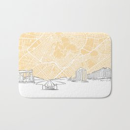 Athens Greece Skyline Map Bath Mat