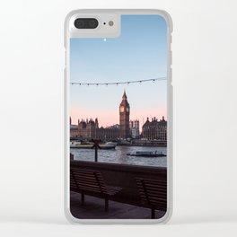 Big Ben, Westminster Bridge, Southbank at sunrise Clear iPhone Case