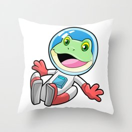 Frog Astronaut Costume Space Throw Pillow