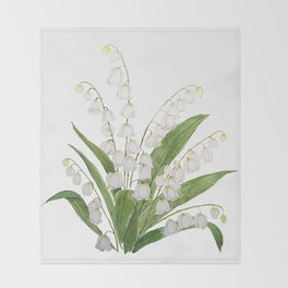 white lily of valley Throw Blanket