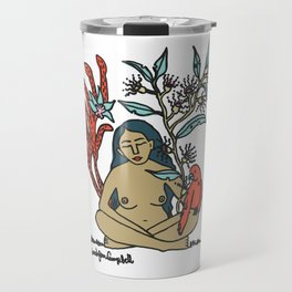 Naked woman with Parrot and Australian flowers Travel Mug