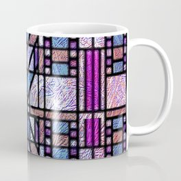 Purple and Blue Art Deco Stained Glass Design Coffee Mug