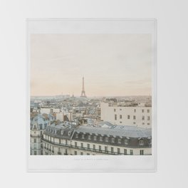 On the rooftops of Paris Throw Blanket