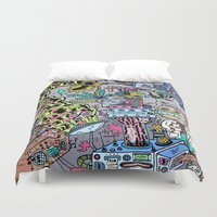 skateboard Duvet Covers featuring How It's Made: Skateboard Edition by Frenemy