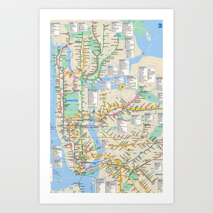 City Subway Map Art.Nyc Metro City Subway Map Art Print