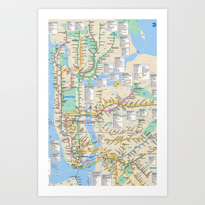 Blank Nyc Subway Map.Nyc Metro City Subway Map Art Print