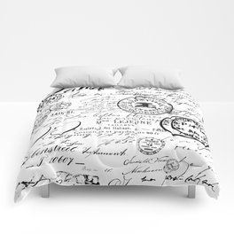 Vintage handwriting black and white Comforters