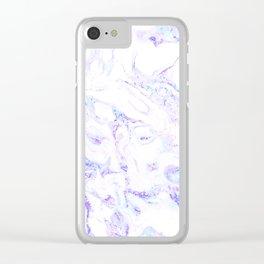 Pastel Marble Purple Blue Glitter Clear iPhone Case